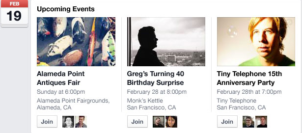 Events page on the newly redesigned Facebook
