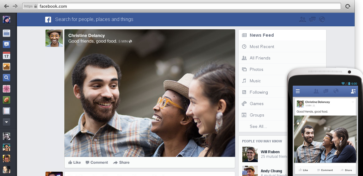 New Facebook Newsfeed homepage