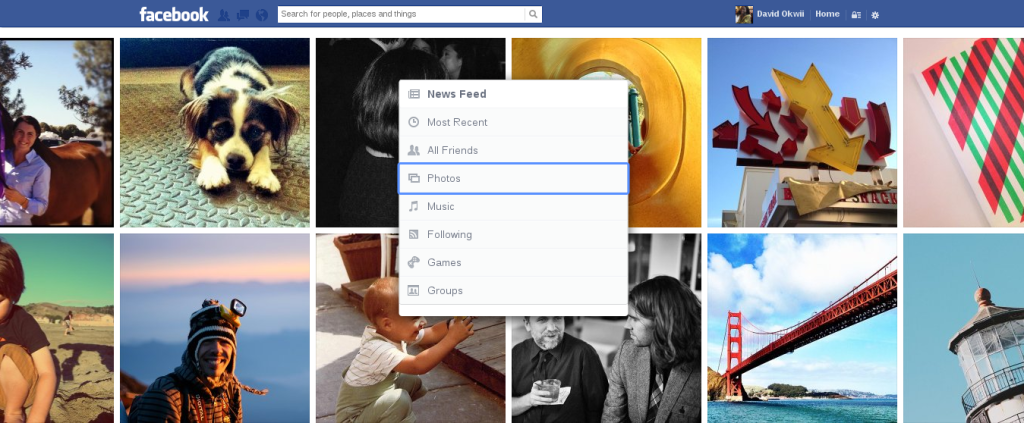 Photos on the new Facebook redesign