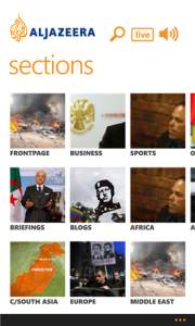 Sections on Al Jazeera Windows 8 App
