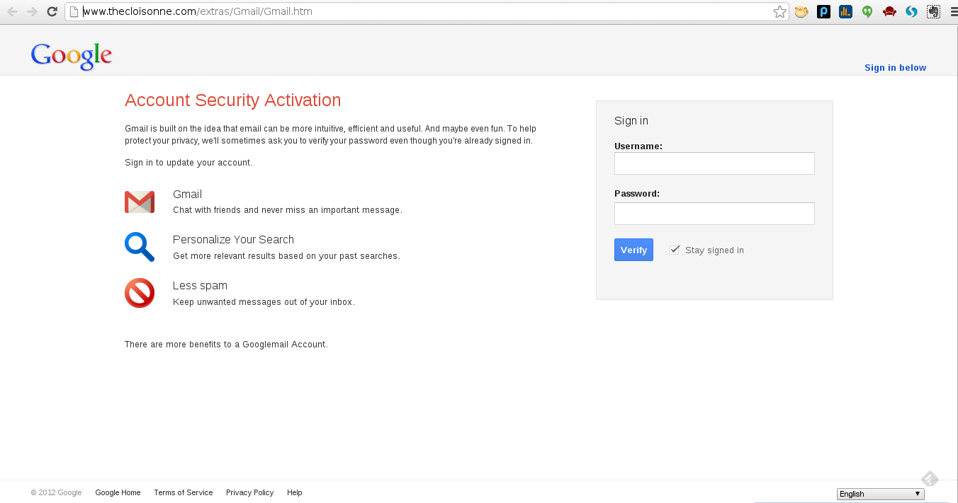 The fake Gmail login page