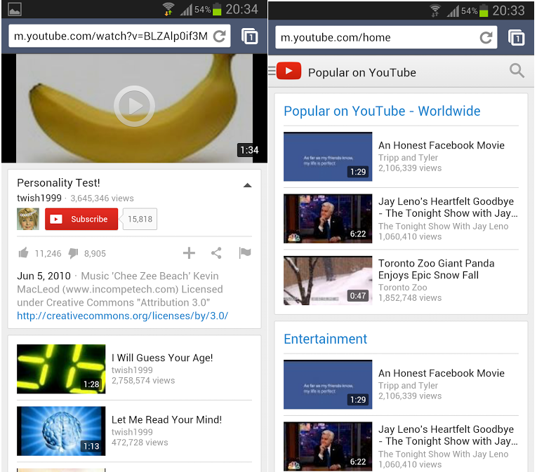 Youtube mobile UI