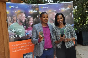 Kingori Gitahi (L), the Products Marketing Manager for Microsoft Mobile Devices East Africa and Mariam Abdullahi, the General Manager for East Africa display the new Lumia 435 and 532 phones that have been launched in Uganda