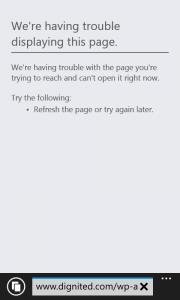 Windows phone IE failing to load