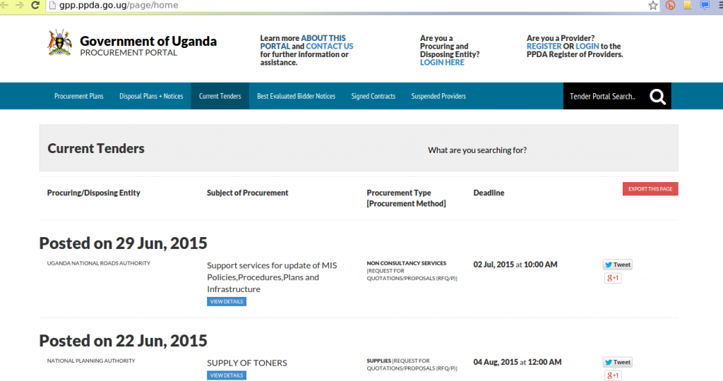 government-uganda-procurement-portal