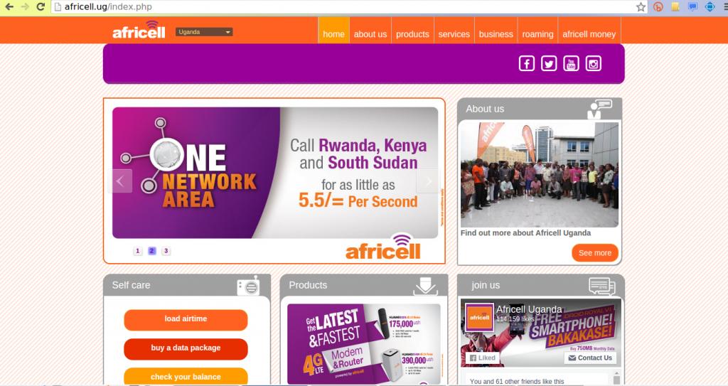 Africell Uganda website