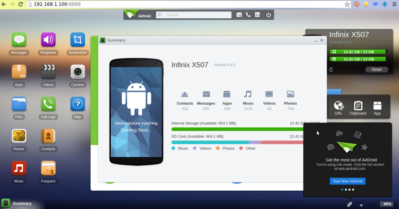 airdroid phone page