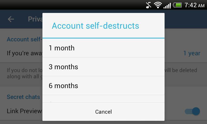 Telegram Account Self Destruct