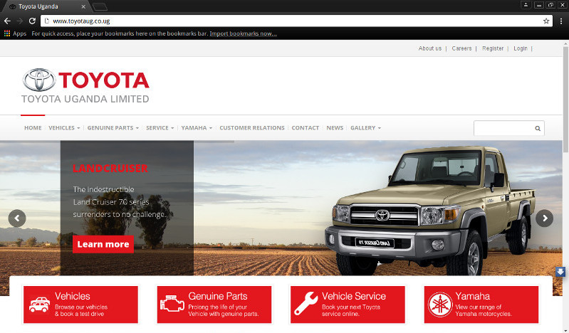 Toyota Website Screenshot