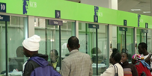 Customers at KCB-Kencom Branch banking Hall in Nairobi. Picture: Anthony Kamau