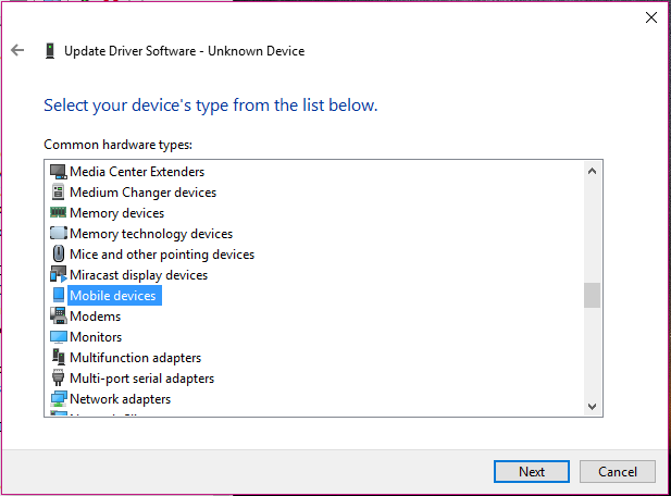 Android not recognised on PC - Step 3