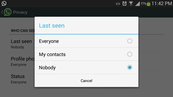 Whatsapp last seen my contacts