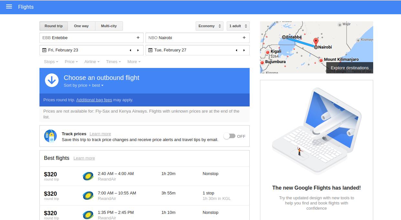 Google flights all