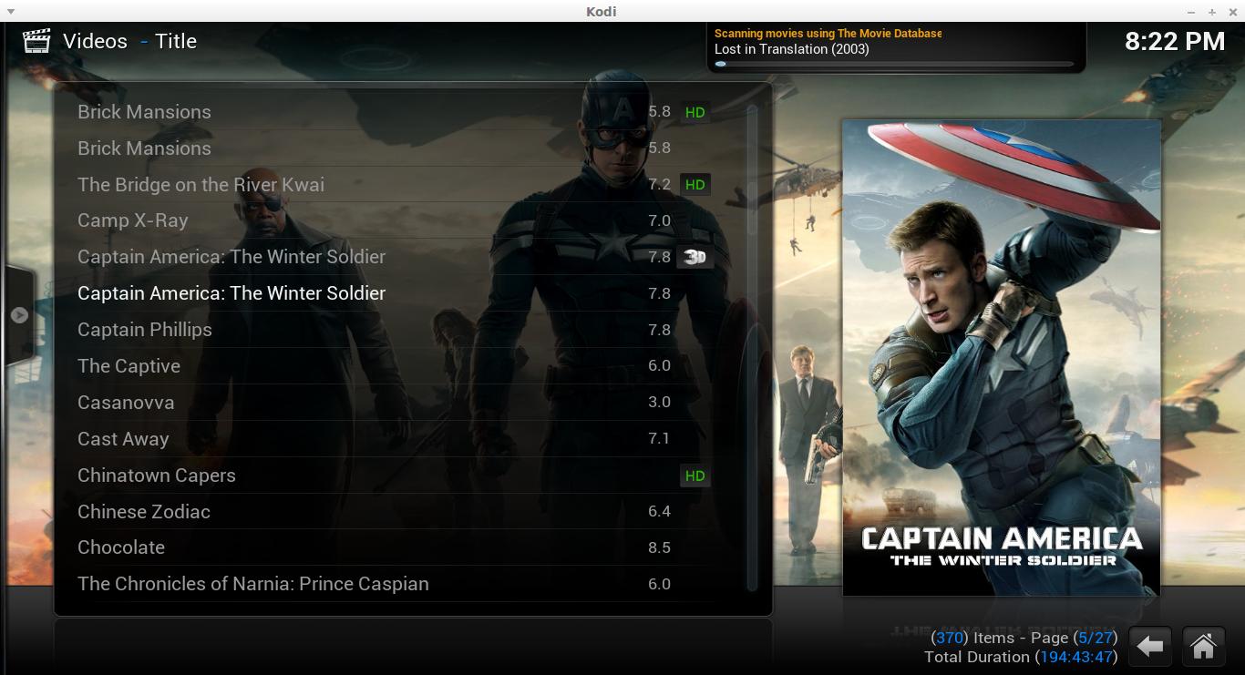 Kodi movie interface