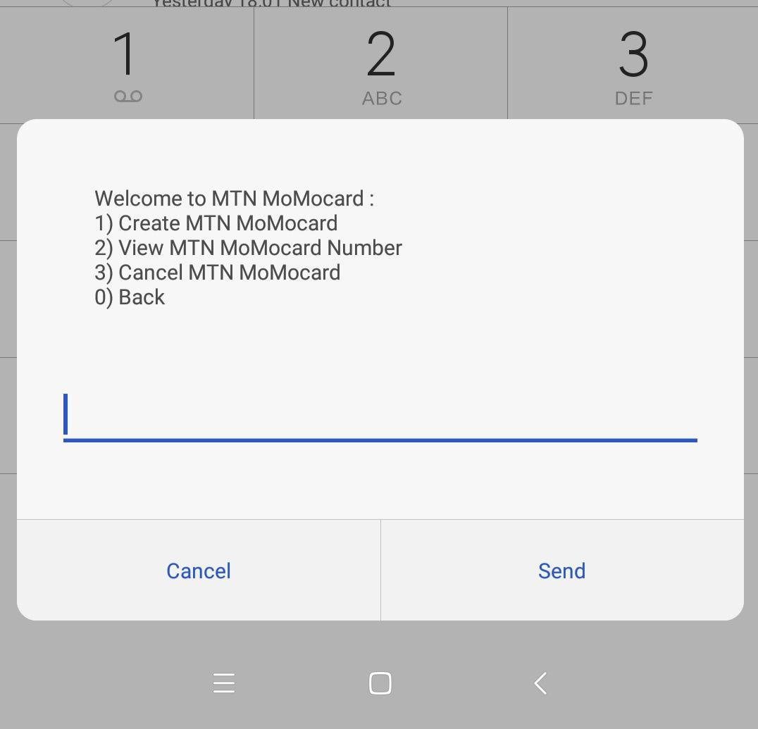 dial *165*70# to create momocard