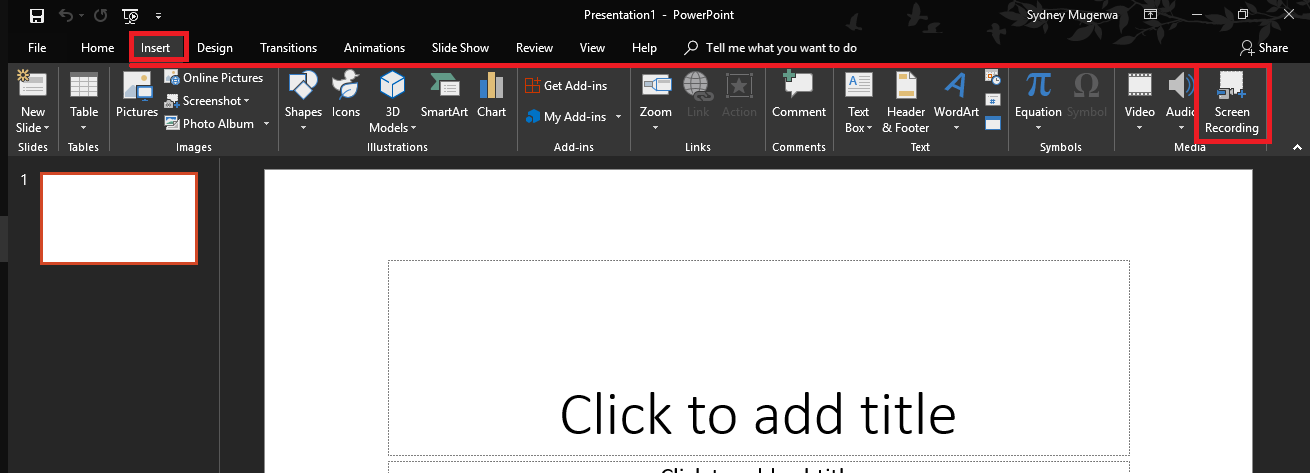 Screen Recording PowerPoint Step 1