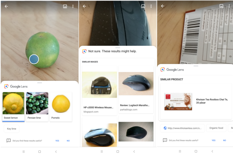 google lens identifying oranges, mouse and qr codes