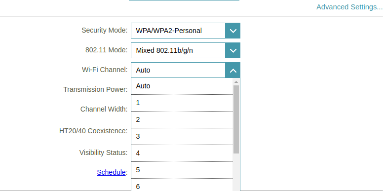 wifi channel d-link router settings