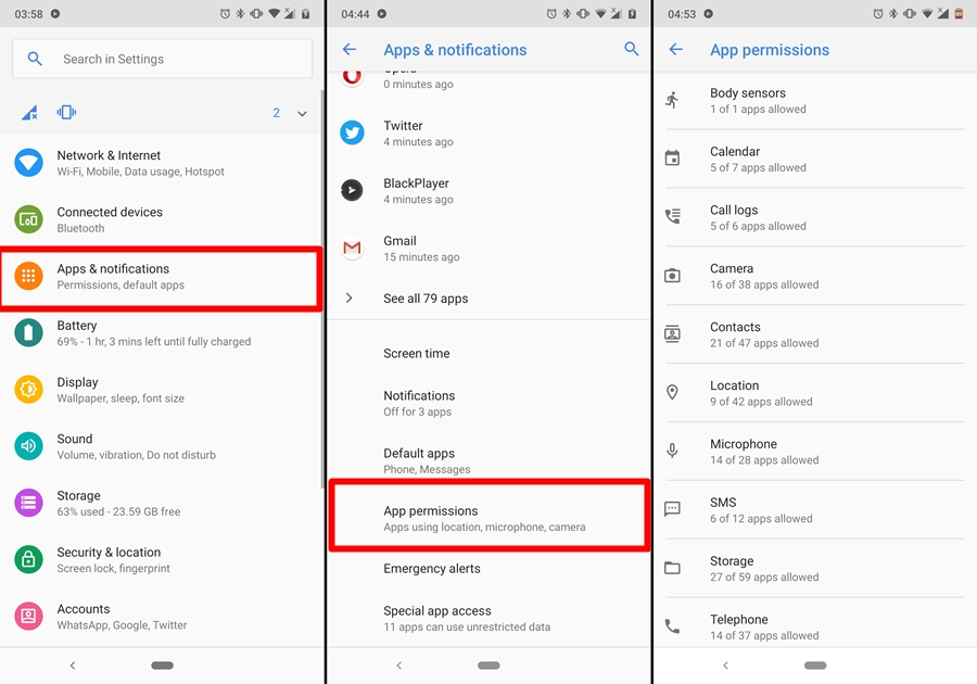 Android app permissions