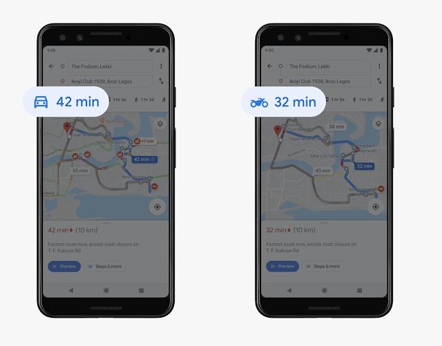 Travel Mode for Motorbike on Google Maps