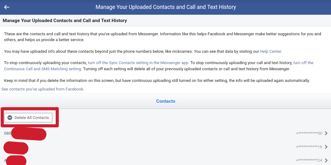 how to delete uploaded contacts on messenger