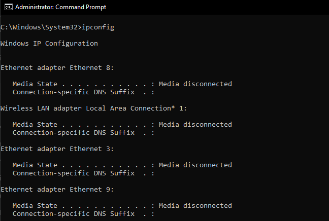 command prompt: ipconfig