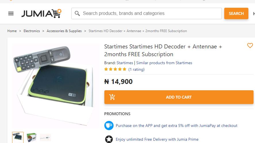 startimes decoder + anteena