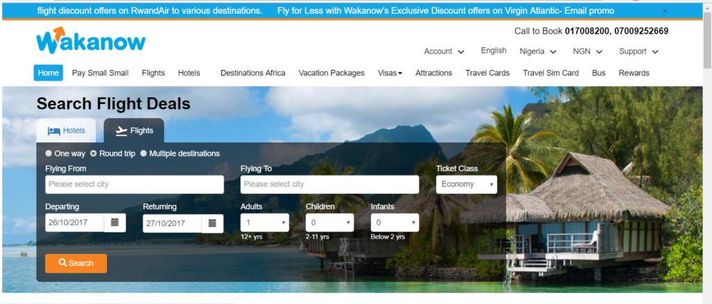 wakanow home page