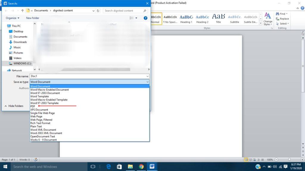 Convert Word document to PDF