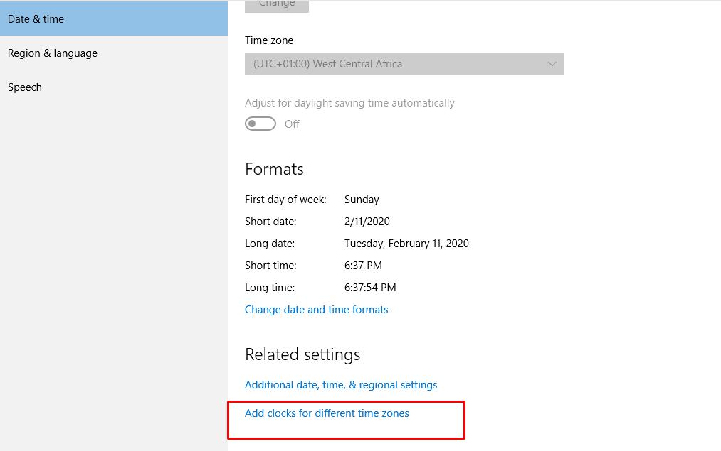 Multiple Clock Time Zone on Windows 10