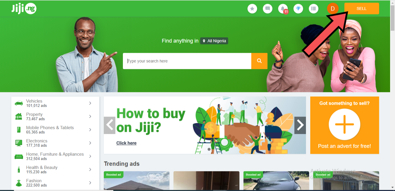 Jiji homepage