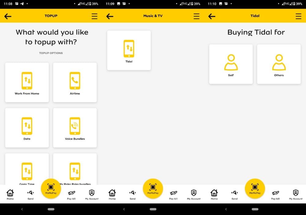Pay for Tidal using MTN Momo App