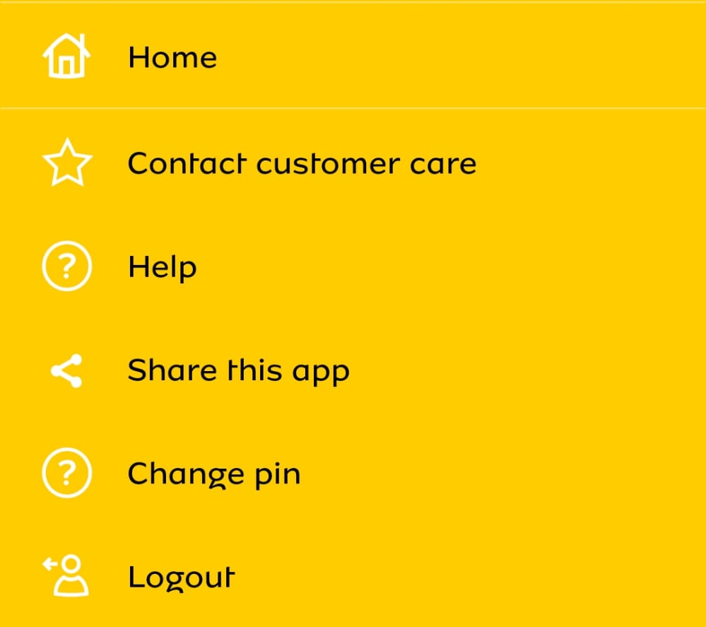 MTN Momo Pay App other menu