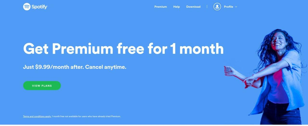 spotify 1 month trial
