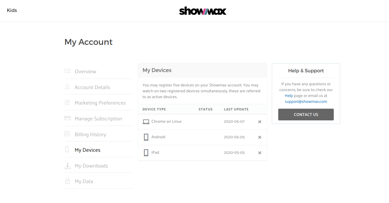 remove devices showmax