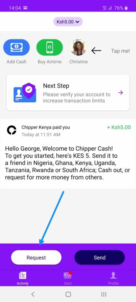 chipper request cash