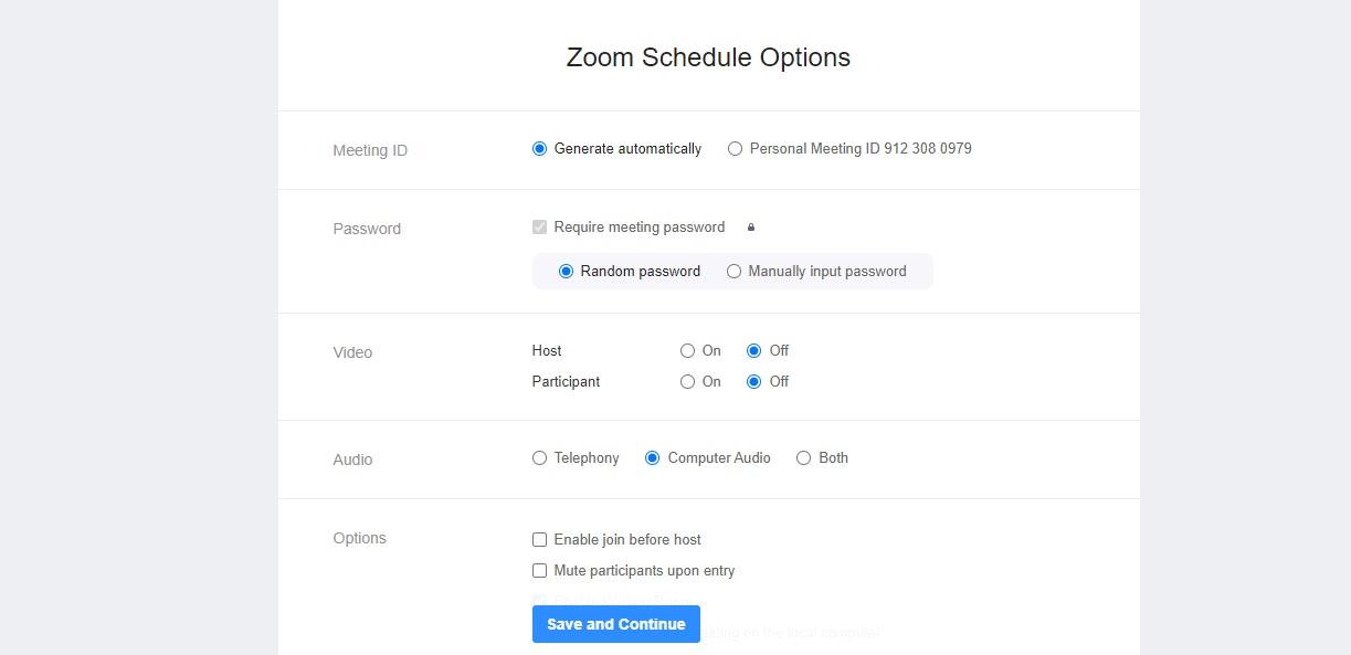 Zoom schedule options