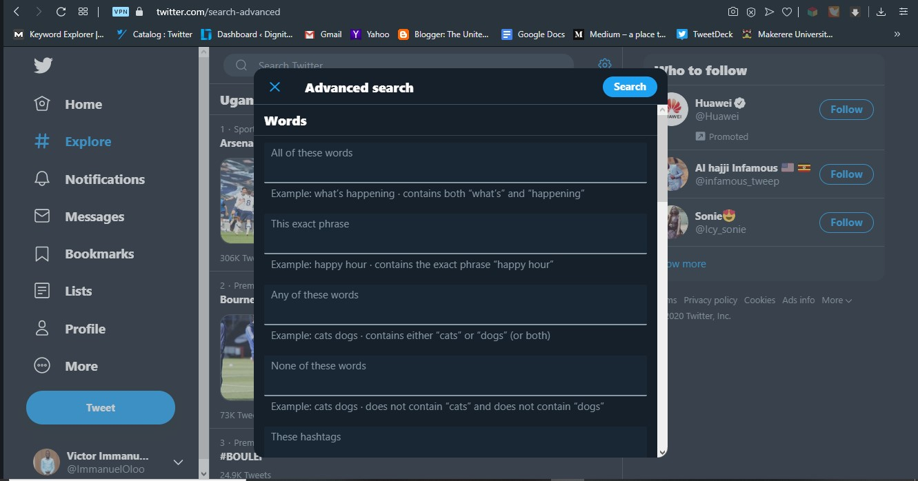 Fill in the appropriate fields according to your search needs in order to perform an advanced search | Twitter Tips