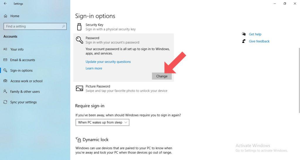 change windows 10 password