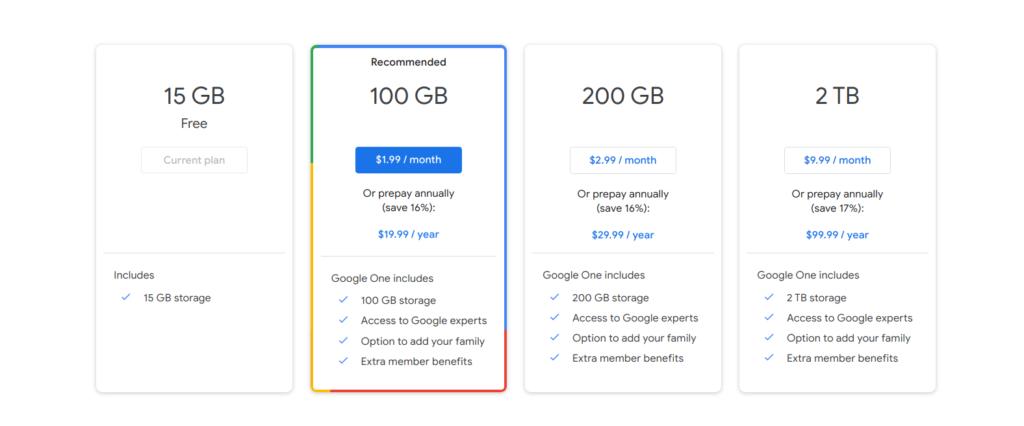 price of Gmail Google Drive storage upgrade