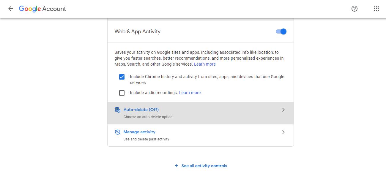 Automatically delete Google search history