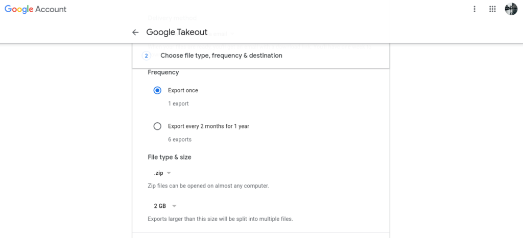Select Google Photos Export parameters