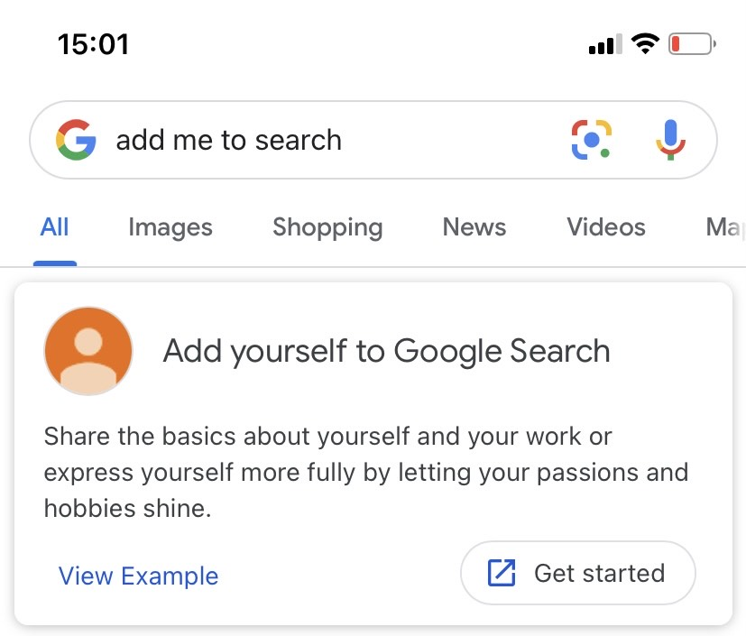 add me to search google card