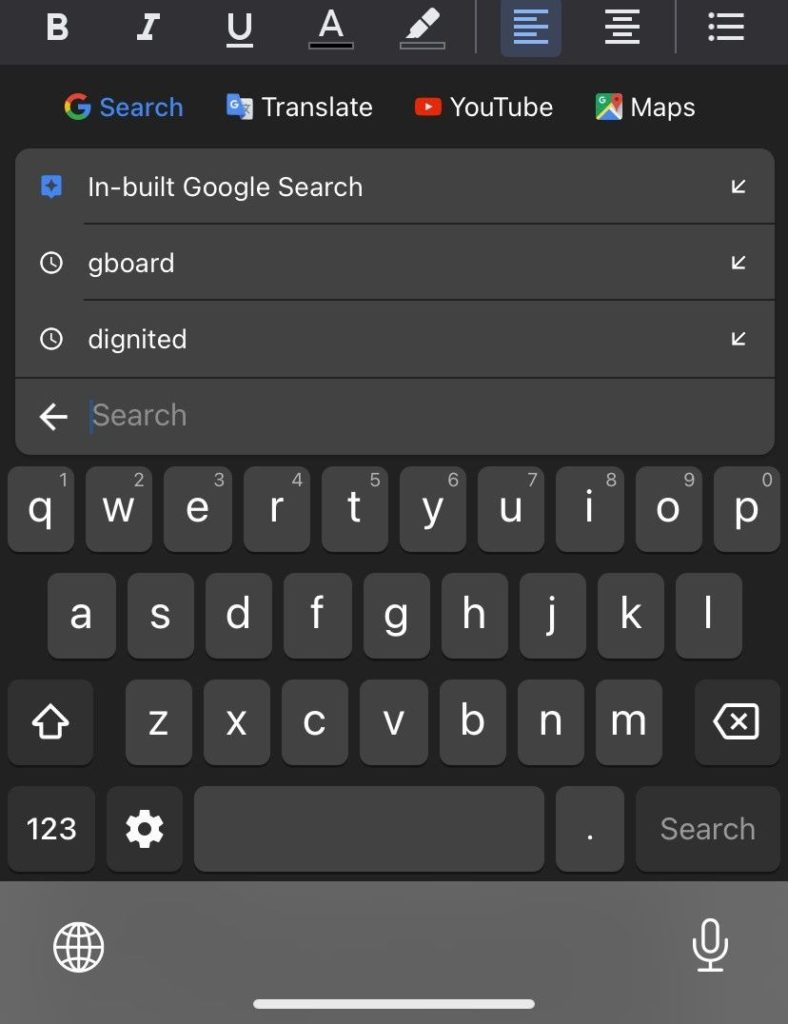 Gboard google search feature