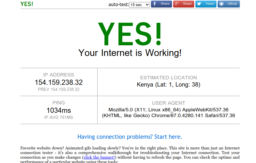 check if internet is working