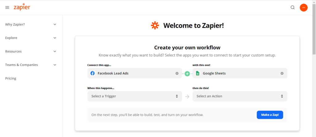 Zapier web page