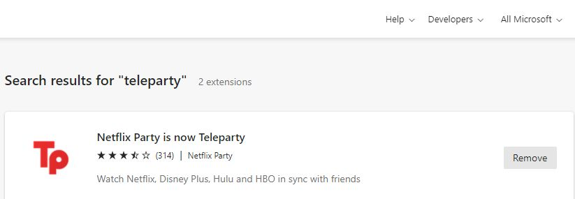Watch TV online with friends Teleparty