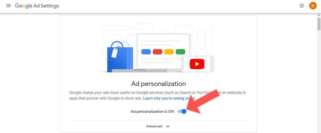 stop ad personalization google