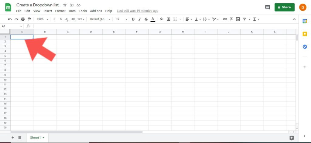 create dropdown list google sheets