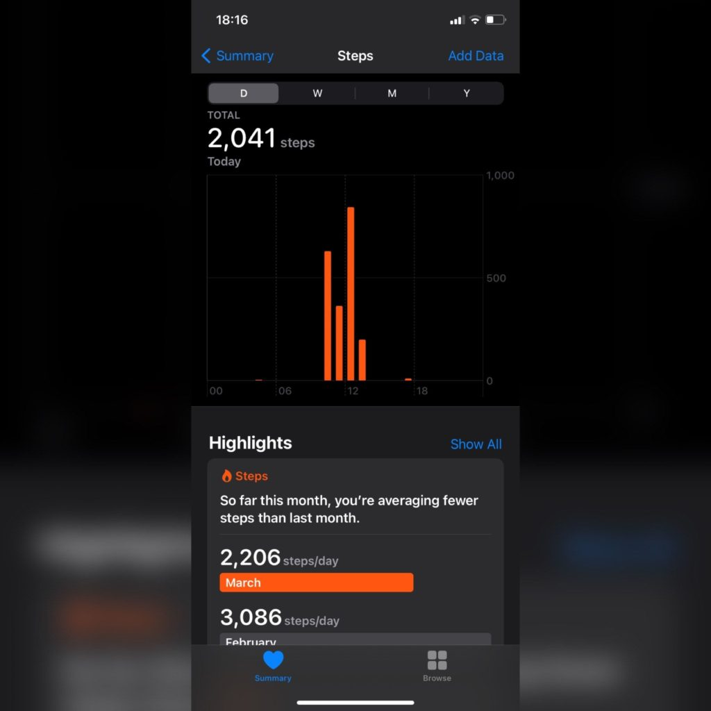 iPhone health app step count